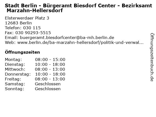 ᐅ öffnungszeiten Stadt Berlin Bürgeramt Biesdorf Center