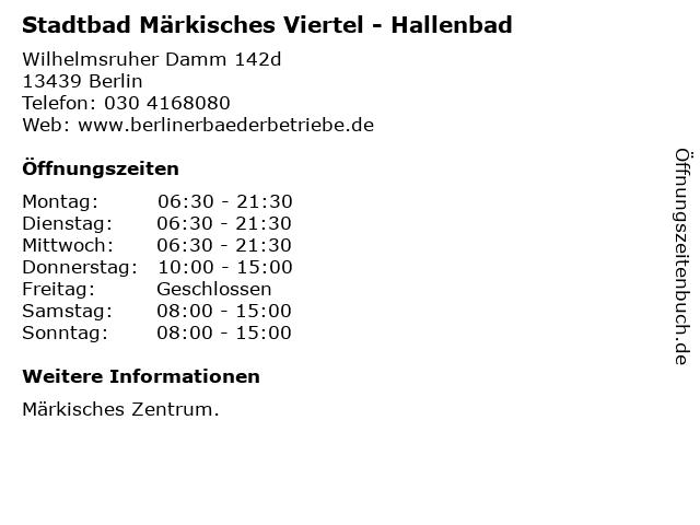 Stadtbad Märkisches Viertel - Hallenbad in Berlin: Adresse und Öffnungszeiten