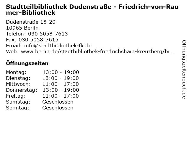 Stadtteilbibliothek Dudenstraße - Friedrich-von-Raumer-Bibliothek in Berlin: Adresse und Öffnungszeiten