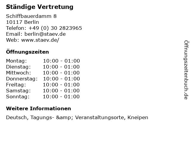 Ständige Vertretung in Berlin: Adresse und Öffnungszeiten