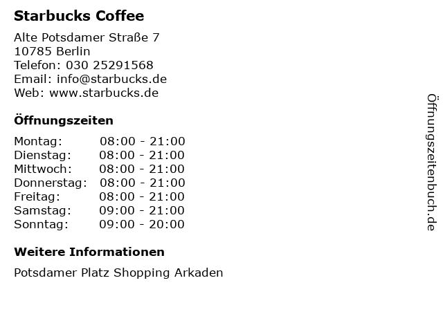 Starbucks Coffee in Berlin: Adresse und Öffnungszeiten