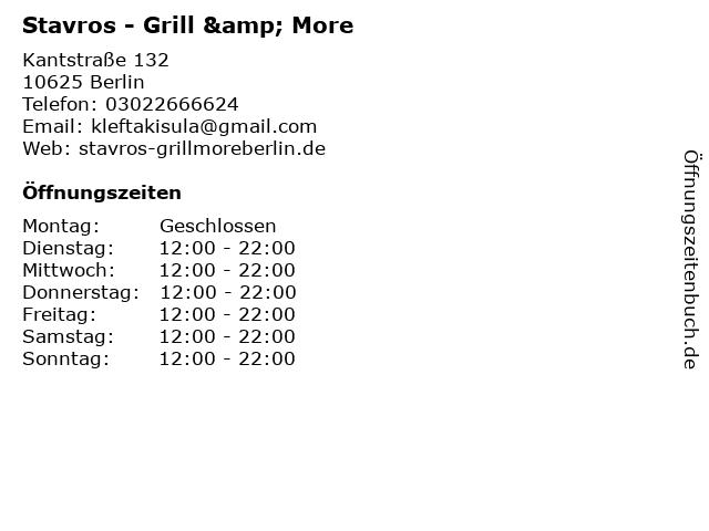 Stavros - Grill & More in Berlin: Adresse und Öffnungszeiten