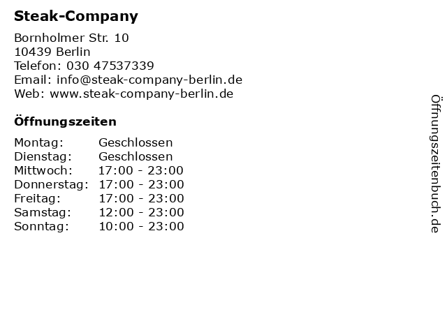 Steak-Company in Berlin: Adresse und Öffnungszeiten