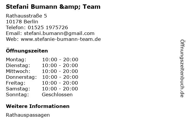Stefani Bumann & Team in Berlin: Adresse und Öffnungszeiten
