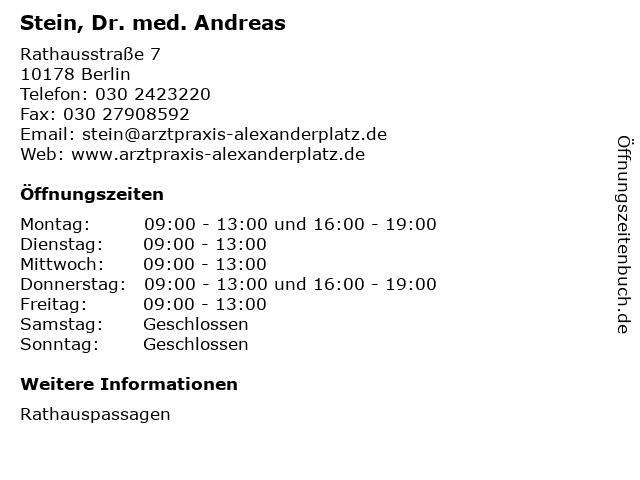 Stein, Dr. med. Andreas in Berlin: Adresse und Öffnungszeiten
