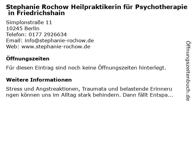 Stephanie Rochow Heilpraktikerin für Psychotherapie in Berlin: Adresse und Öffnungszeiten