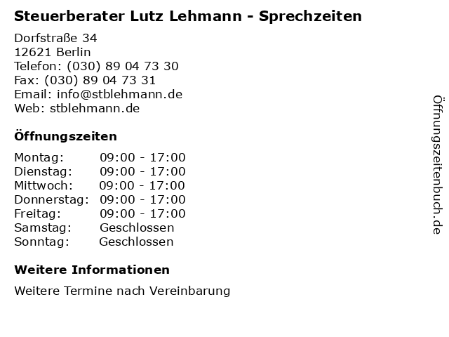 Steuerberater Lutz Lehmann - Sprechzeiten in Berlin: Adresse und Öffnungszeiten