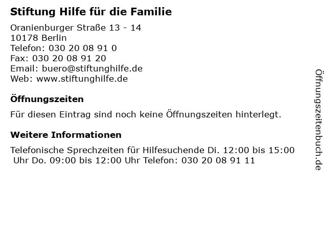 Stiftung Hilfe für die Familie in Berlin: Adresse und Öffnungszeiten