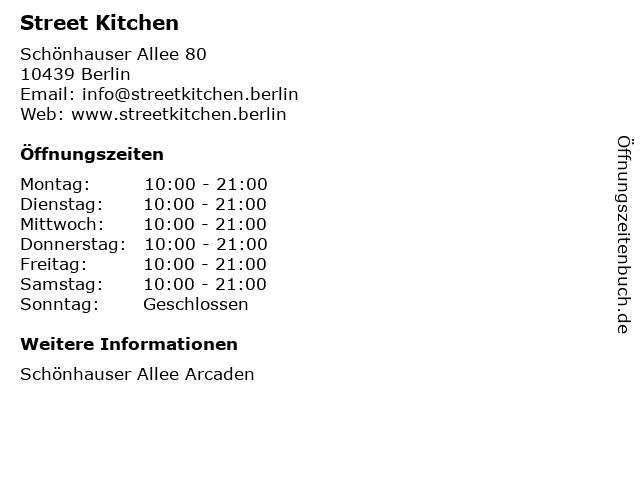Street Kitchen in Berlin: Adresse und Öffnungszeiten