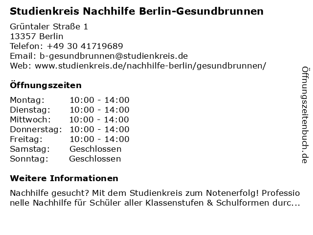 Studienkreis Nachhilfe Berlin-Gesundbrunnen in Berlin: Adresse und Öffnungszeiten