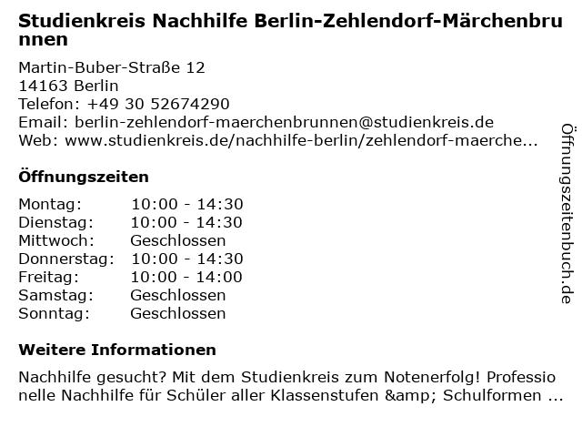 Studienkreis Nachhilfe Berlin-Zehlendorf-Märchenbrunnen in Berlin: Adresse und Öffnungszeiten