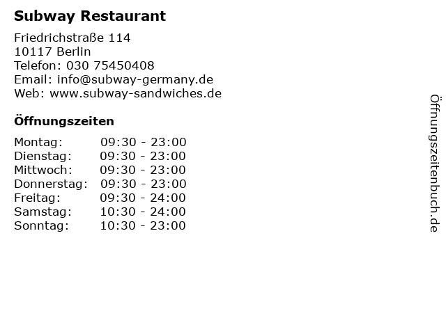 Subway Restaurant in Berlin: Adresse und Öffnungszeiten