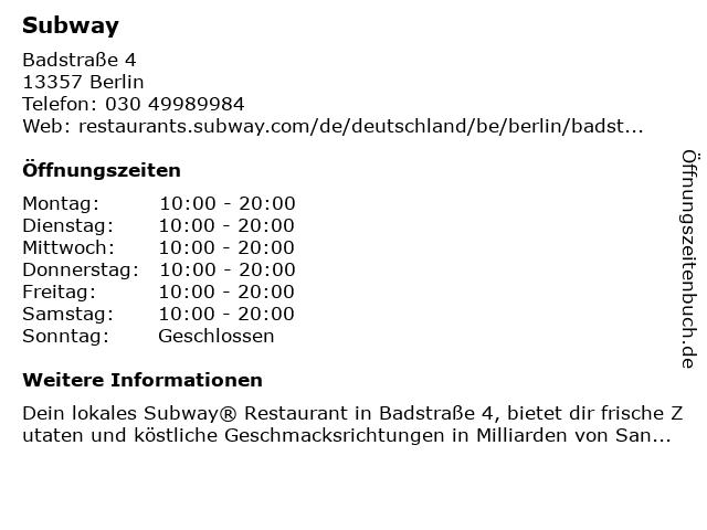 SUBWAY in Berlin: Adresse und Öffnungszeiten