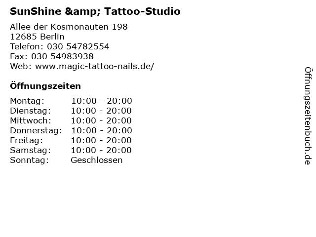 SunShine & Tattoo-Studio in Berlin: Adresse und Öffnungszeiten