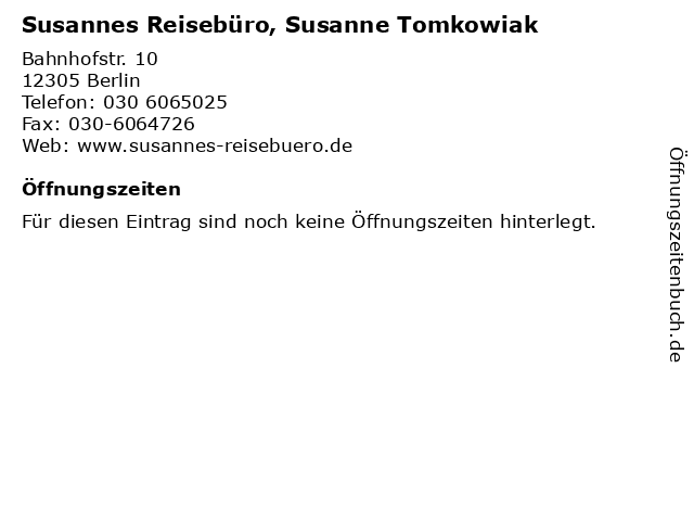 Susannes Reisebüro, Susanne Tomkowiak in Berlin: Adresse und Öffnungszeiten