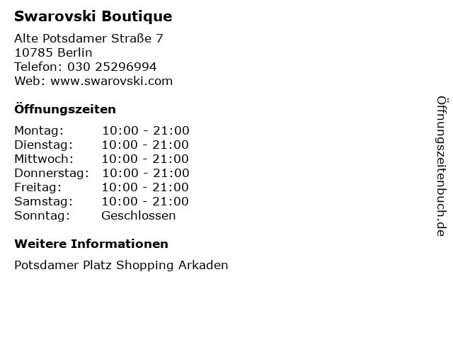 Swarovski Boutique in Berlin: Adresse und Öffnungszeiten