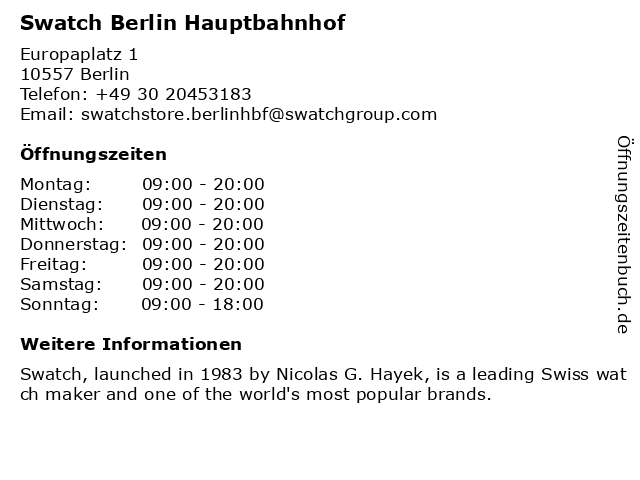 Apotheke Berlin Hauptbahnhof in Berlin: Adresse und Öffnungszeiten