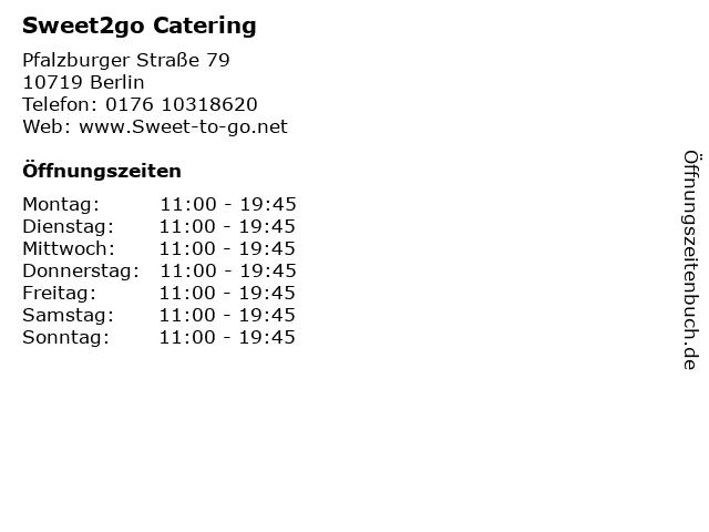 Sweet2go Catering in Berlin: Adresse und Öffnungszeiten