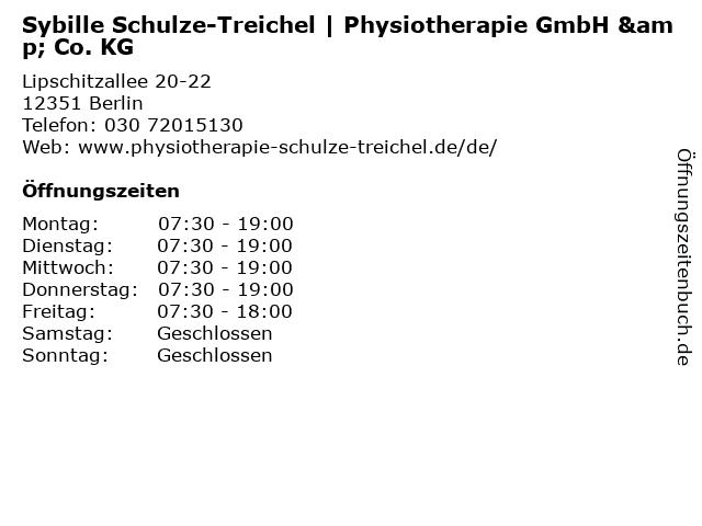 Sybille Schulze-Treichel | Physiotherapie GmbH & Co. KG in Berlin: Adresse und Öffnungszeiten