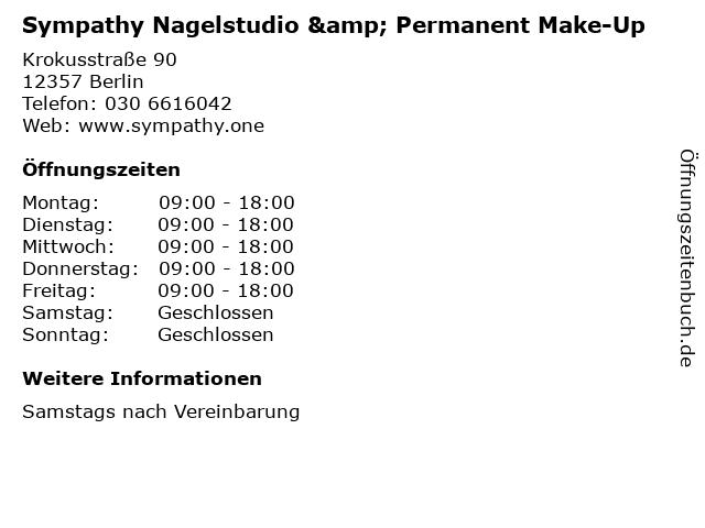 Sympathy Nagelstudio & Permanent Make-Up in Berlin: Adresse und Öffnungszeiten