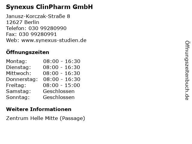 Synexus ClinPharm GmbH in Berlin: Adresse und Öffnungszeiten