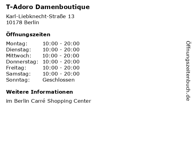 T-Adoro Damenboutique in Berlin: Adresse und Öffnungszeiten