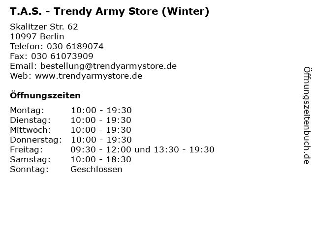 T.A.S. - Trendy Army Store (Winter) in Berlin: Adresse und Öffnungszeiten