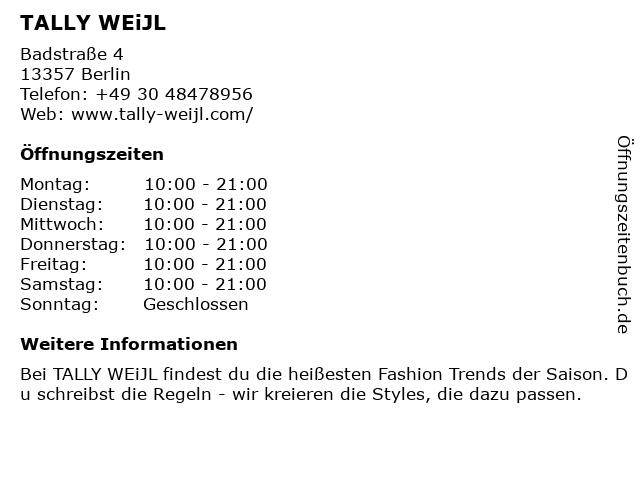 Tally Weijl Retail Germany GmbH in Berlin: Adresse und Öffnungszeiten