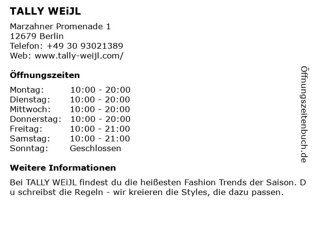 Tally Weijl Deutschland GmbH in Berlin: Adresse und Öffnungszeiten