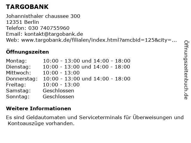 TARGOBANK AG & Co. KGaA in Berlin: Adresse und Öffnungszeiten