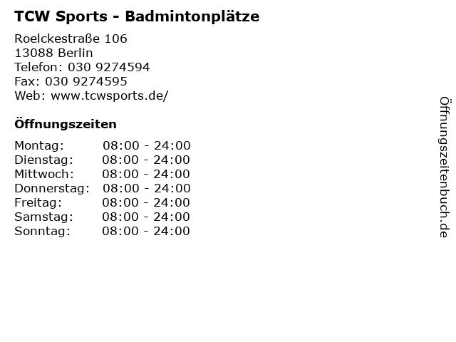 TCW Sports - Badmintonplätze in Berlin: Adresse und Öffnungszeiten