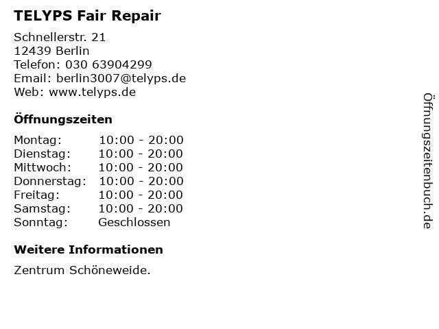 TELYPS Fair Repair in Berlin: Adresse und Öffnungszeiten