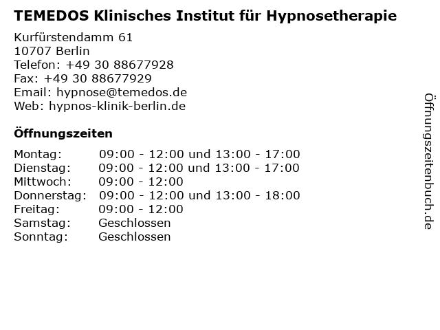 TEMEDOS Klinisches Institut für Hypnosetherapie in Berlin: Adresse und Öffnungszeiten