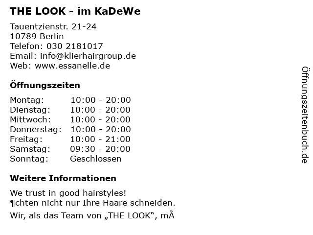 THE LOOK - im KaDeWe in Berlin: Adresse und Öffnungszeiten