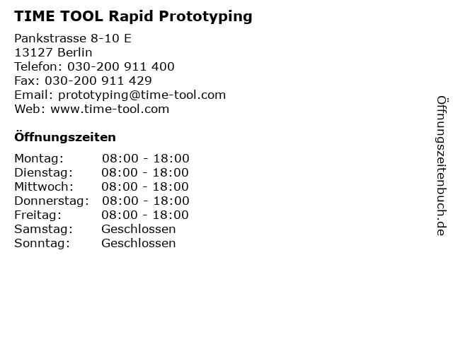 TIME TOOL Rapid Prototyping in Berlin: Adresse und Öffnungszeiten