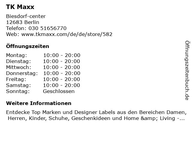 TK Maxx in Berlin: Adresse und Öffnungszeiten