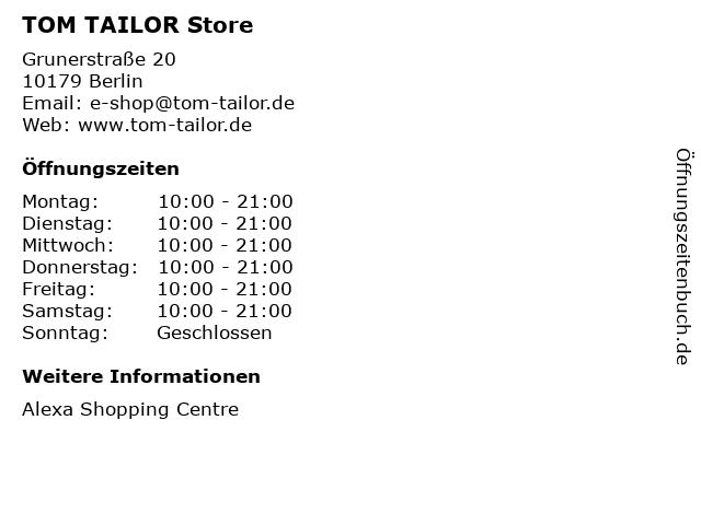TOM TAILOR Store in Berlin: Adresse und Öffnungszeiten