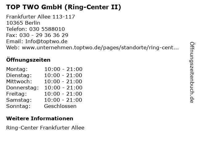TOP TWO GmbH (Ring-Center II) in Berlin: Adresse und Öffnungszeiten