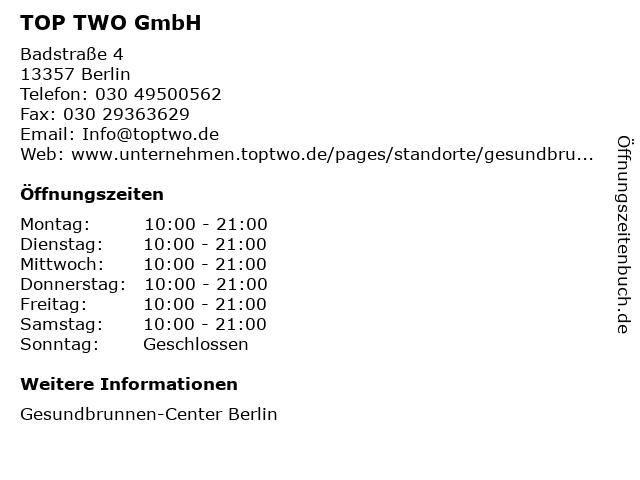TOP TWO GmbH in Berlin: Adresse und Öffnungszeiten