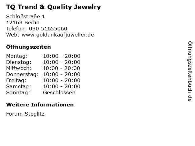 TQ Trend & Quality Jewelry in Berlin: Adresse und Öffnungszeiten