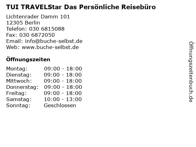 TUI TRAVELStar Das Persönliche Reisebüro in Berlin: Adresse und Öffnungszeiten