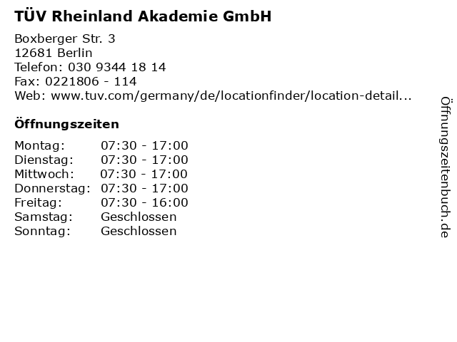 TÜV Rheinland Akademie GmbH in Berlin: Adresse und Öffnungszeiten