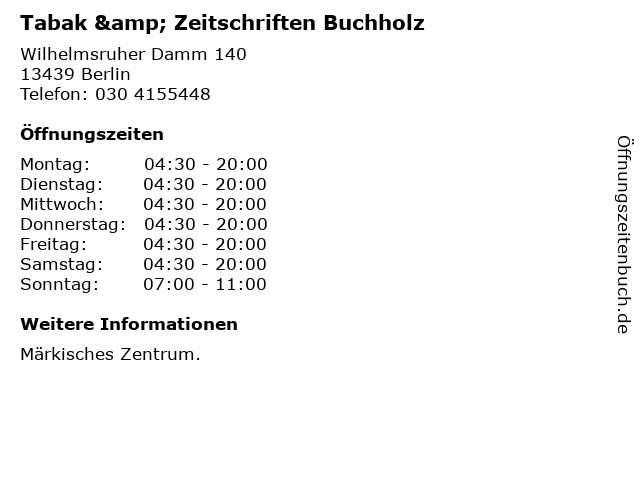 Tabak & Zeitschriften Buchholz in Berlin: Adresse und Öffnungszeiten