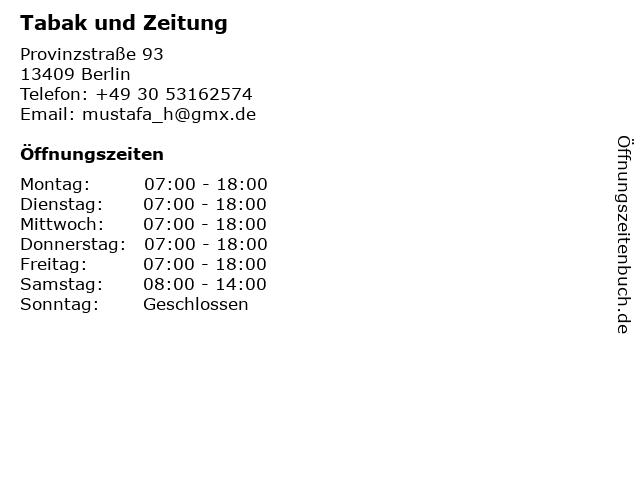 Tabak und Zeitung in Berlin: Adresse und Öffnungszeiten
