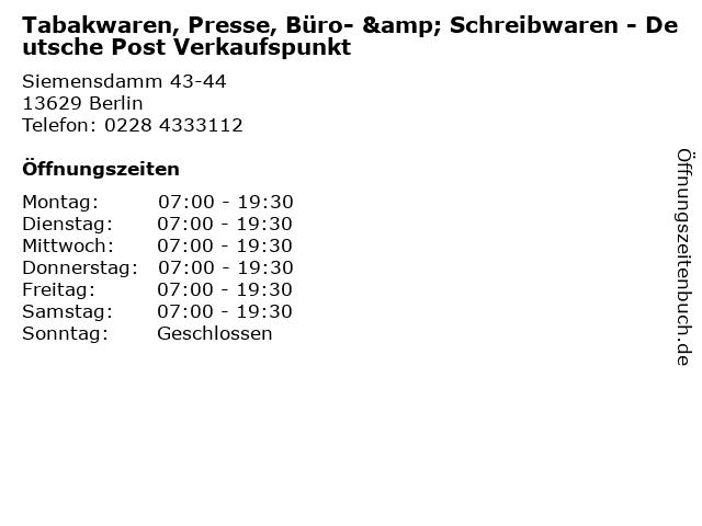 Tabakwaren, Presse, Büro- & Schreibwaren - Deutsche Post Verkaufspunkt in Berlin: Adresse und Öffnungszeiten