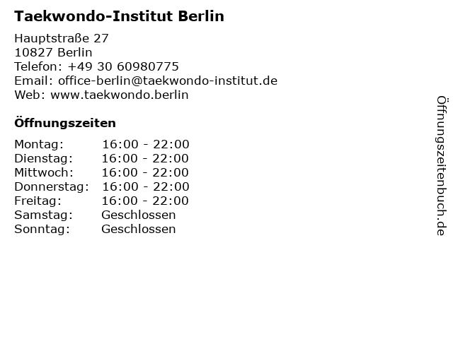Taekwondo-Institut Berlin in Berlin: Adresse und Öffnungszeiten