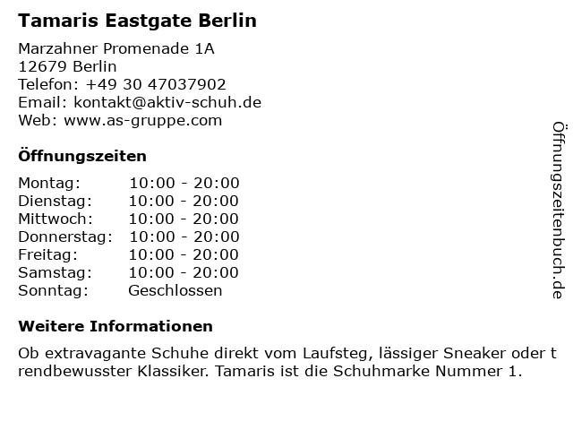 Tamaris Eastgate Berlin in Berlin: Adresse und Öffnungszeiten