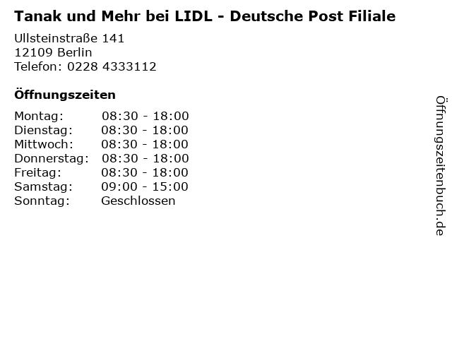 Tanak und Mehr bei LIDL - Deutsche Post Filiale in Berlin: Adresse und Öffnungszeiten