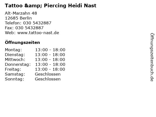 Tattoo & Piercing Heidi Nast in Berlin: Adresse und Öffnungszeiten