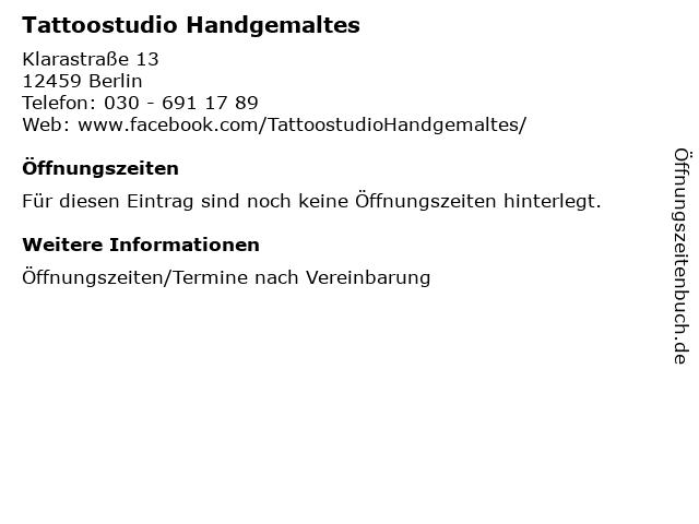Tattoostudio Handgemaltes in Berlin: Adresse und Öffnungszeiten